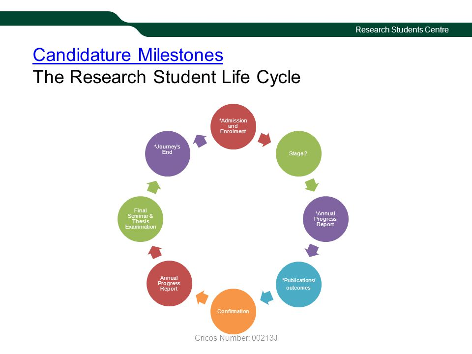 Research Students Centre Candidature Milestones Candidature Milestones The Research Student Life Cycle *Admission and Enrolment Stage 2 *Annual Progre