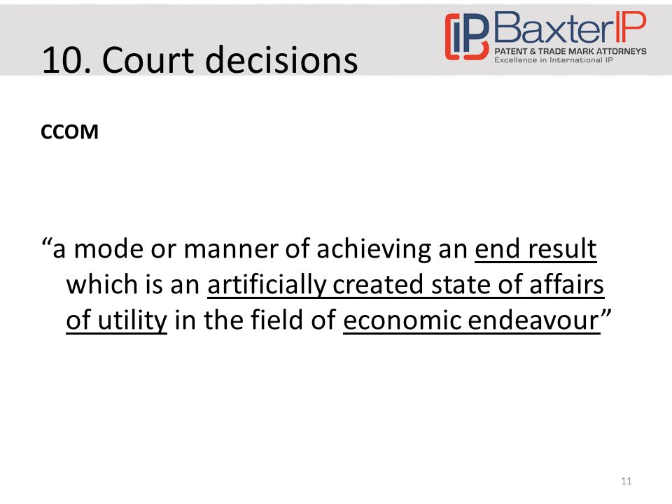 """10. Court decisions CCOM """"a mode or manner of achieving an end result which is an artificially created state of affairs of utility in the field of eco"""