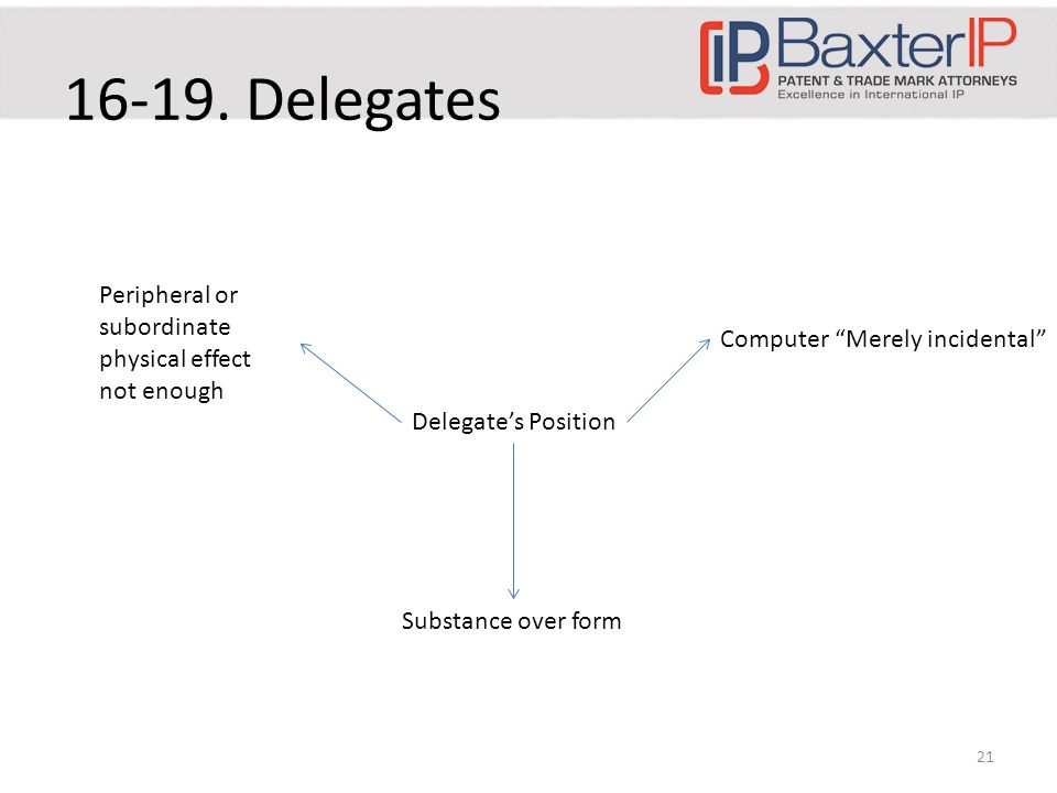 21 Delegate's Position Peripheral or subordinate physical effect not enough Computer Merely incidental Substance over form