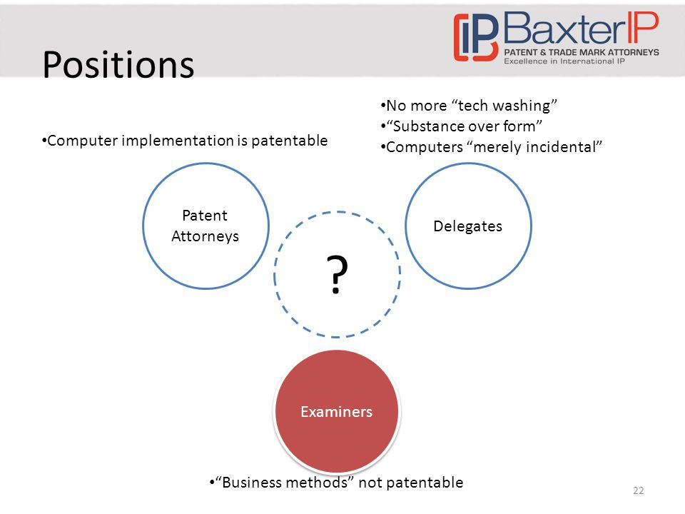 Positions Patent Attorneys Delegates Examiners Computer implementation is patentable No more tech washing Substance over form Computers merely incidental Business methods not patentable .