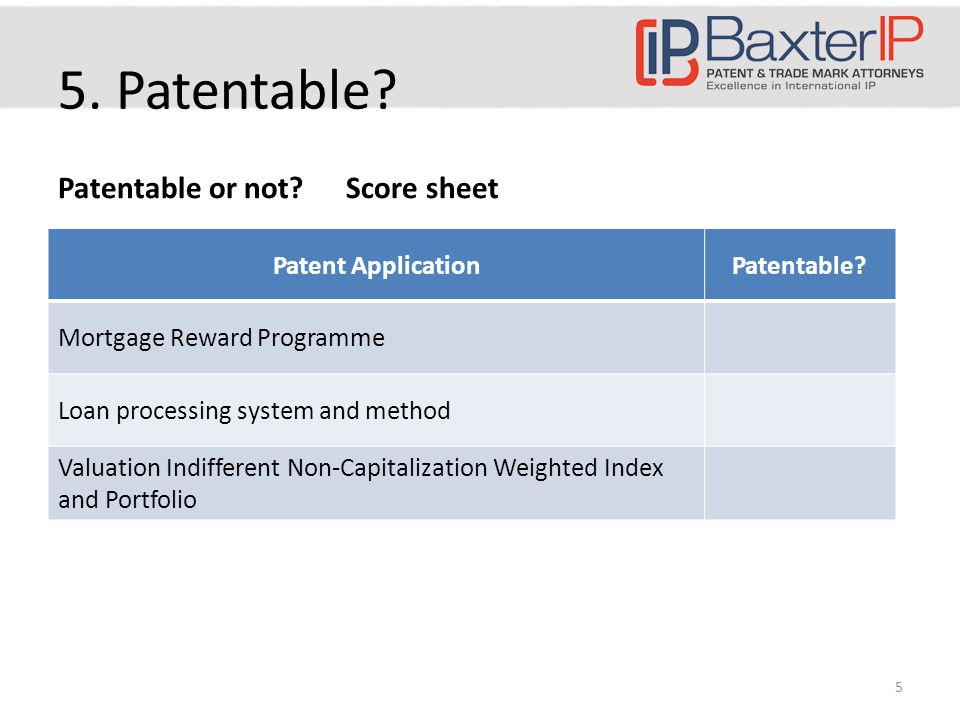 5. Patentable. Patentable or not Score sheet Patent ApplicationPatentable.