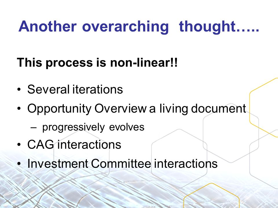 Another overarching thought….. This process is non-linear!.