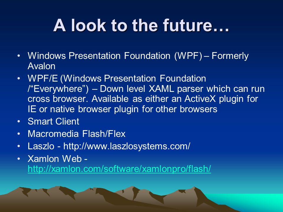 "A look to the future… Windows Presentation Foundation (WPF) – Formerly Avalon WPF/E (Windows Presentation Foundation /""Everywhere"") – Down level XAML"