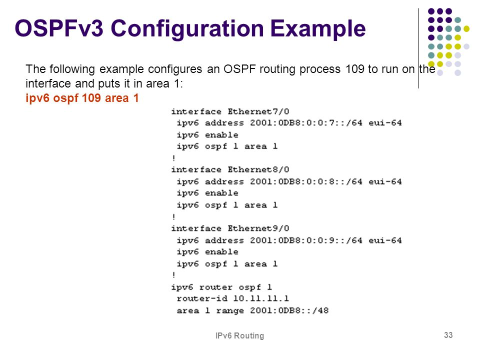 IPv6 Routing 33 OSPFv3 Configuration Example The following example configures an OSPF routing process 109 to run on the interface and puts it in area