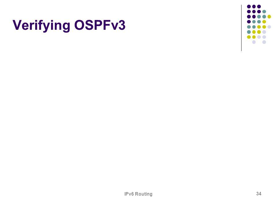 IPv6 Routing 34 Verifying OSPFv3