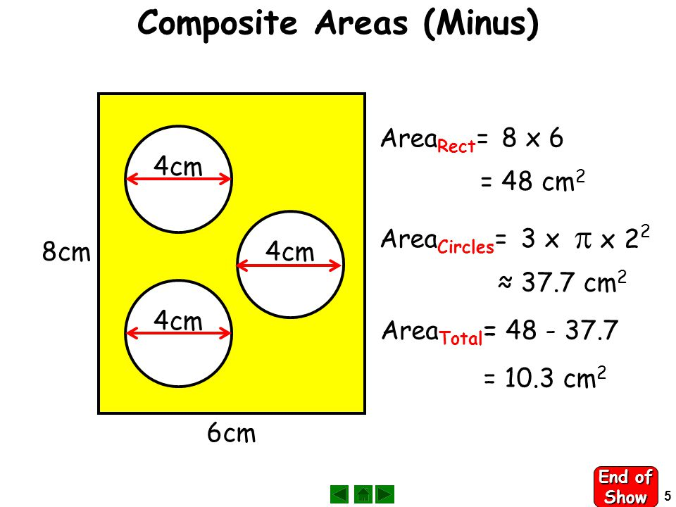 4 Composite Areas (Add) Press A B A Area A = 1212 x 6cm  x 3 2 ≈ 14.14 cm 2 B Area B = 6262 = 36 cm 2 Total Area Total =14.14 +36 = 50.14 cm 2 3cm End of Slide
