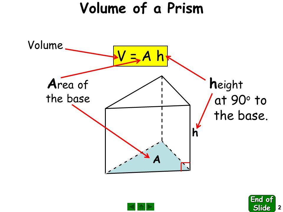 3 Volume of Prisms V = A h A h 7cm 5cm 2 V = Ah = 5 x 7 = 35 cm 3 End of Slide
