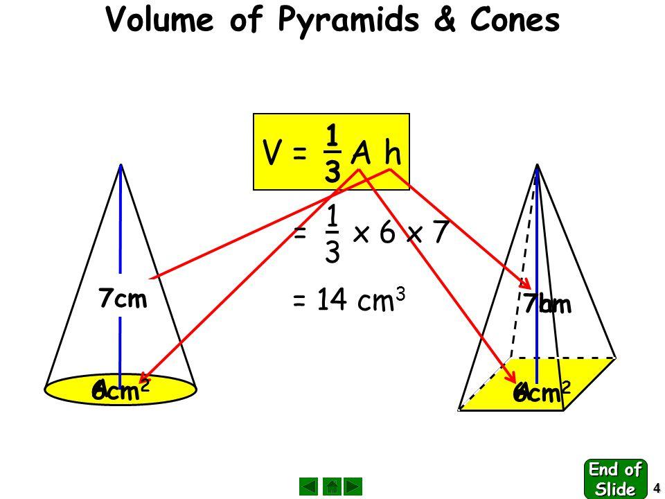 5 Volume of a Sphere Volume =  r 3 6 400 km Volume = x  x 6400 3 = 1 098 066 219 444 = 1 100 000 000 000 km 3 4343 4343 End of Slide
