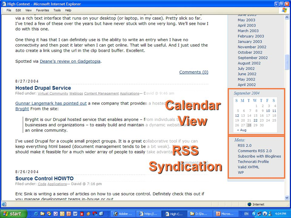 Anatomy of a blog — 3 Calendar View RSS Syndication
