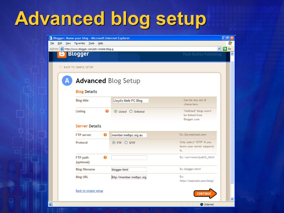Advanced blog setup