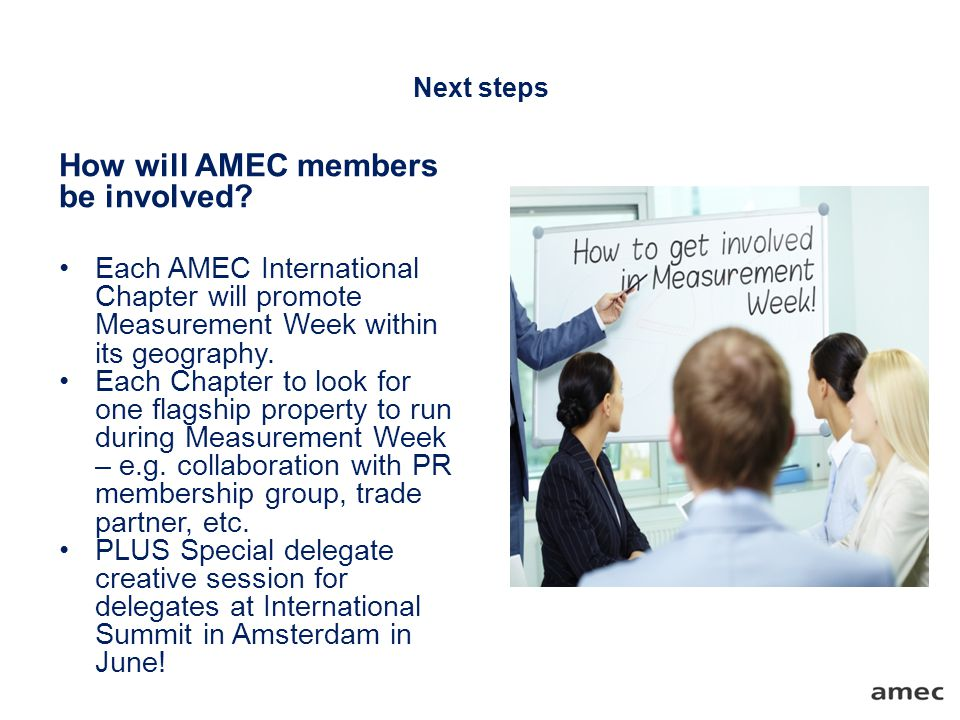 Next steps How will AMEC members be involved.