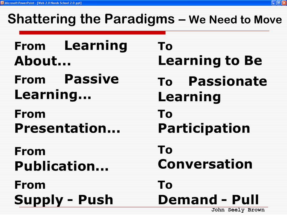 Shattering the Paradigms – We Need to Move From Learning About...