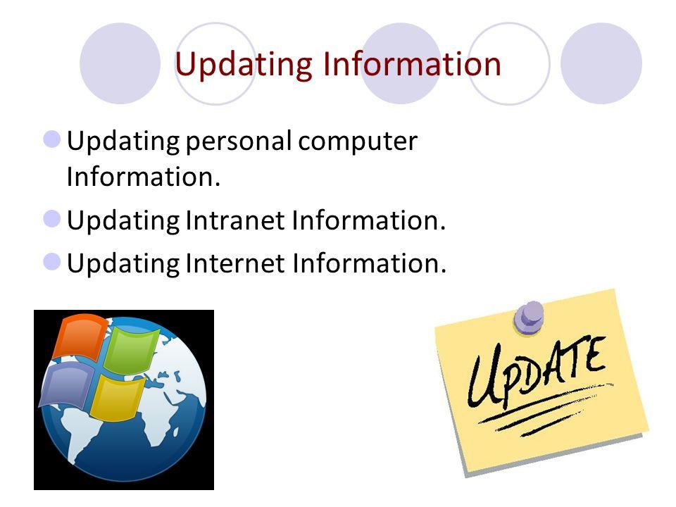 Updating Information Updating personal computer Information. Updating Intranet Information. Updating Internet Information.