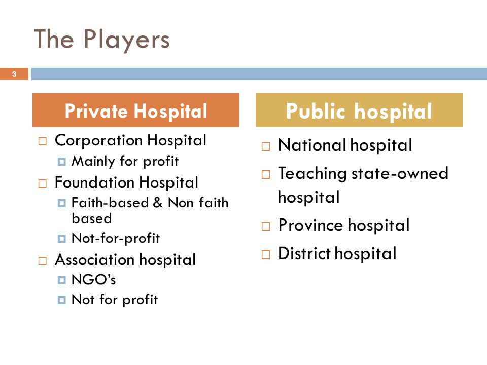 The Players  Corporation Hospital  Mainly for profit  Foundation Hospital  Faith-based & Non faith based  Not-for-profit  Association hospital  NGO's  Not for profit  National hospital  Teaching state-owned hospital  Province hospital  District hospital Private Hospital Public hospital 3