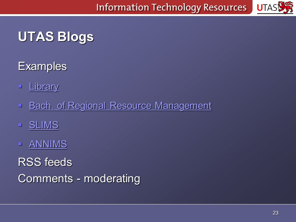 UTAS Blogs Examples  Library Library  Bach. of Regional Resource Management Bach.