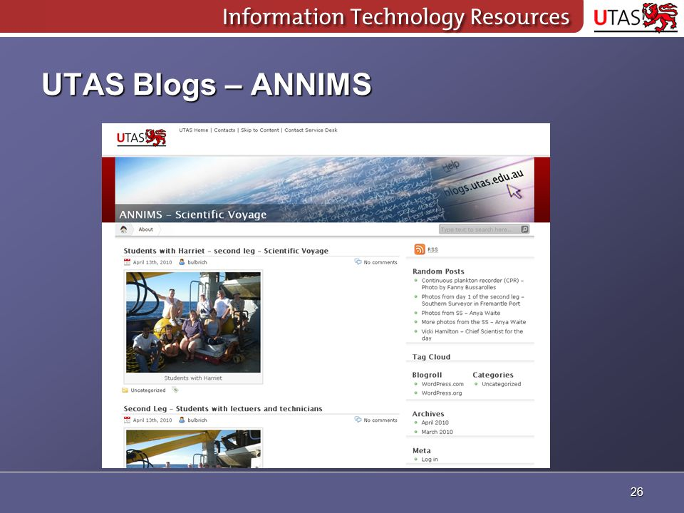 UTAS Blogs – ANNIMS 26