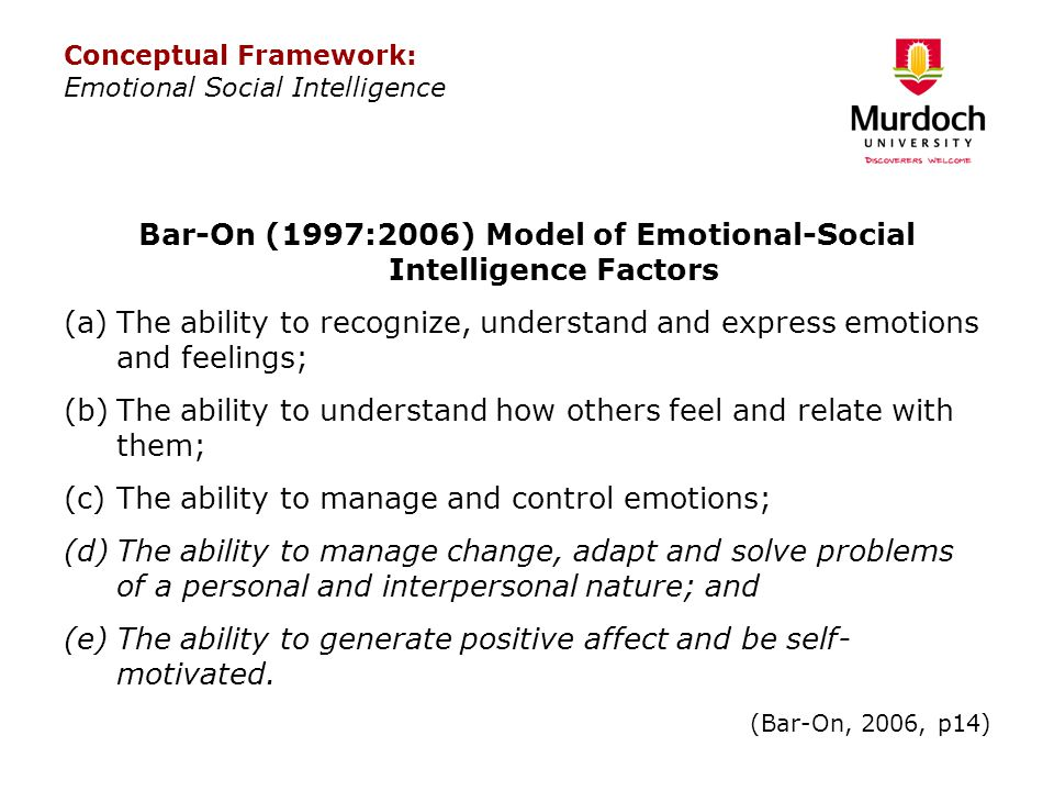 Bar-On (1997:2006) Model of Emotional-Social Intelligence Factors (a)The ability to recognize, understand and express emotions and feelings; (b)The ab