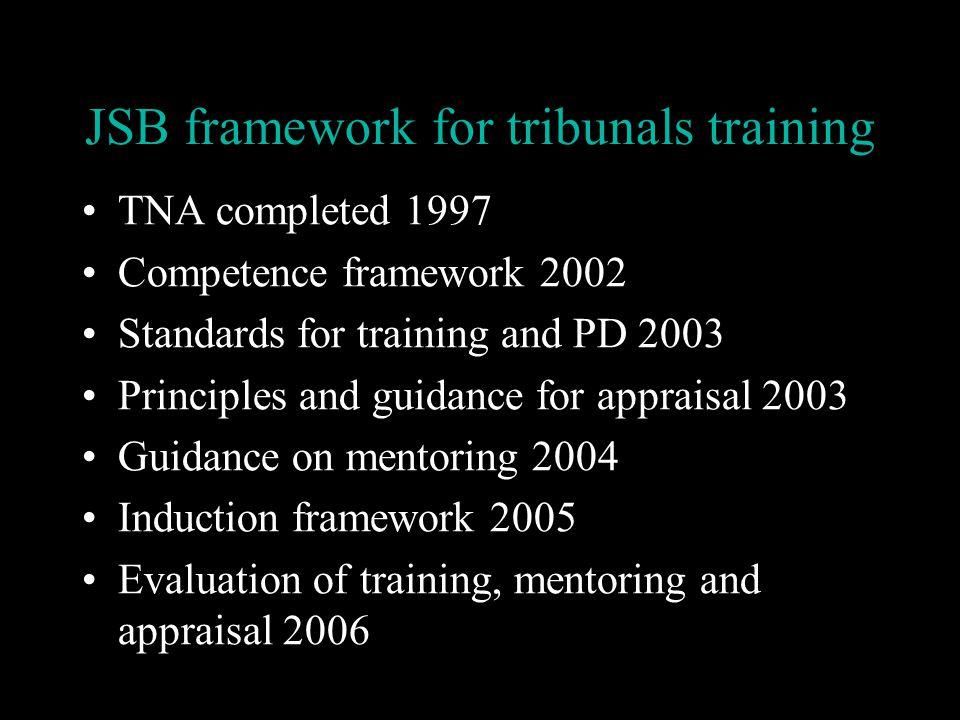 JSB framework for tribunals training TNA completed 1997 Competence framework 2002 Standards for training and PD 2003 Principles and guidance for appraisal 2003 Guidance on mentoring 2004 Induction framework 2005 Evaluation of training, mentoring and appraisal 2006