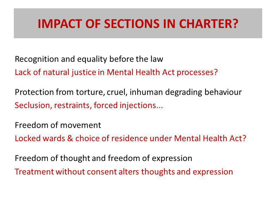 IMPACT OF SECTIONS IN CHARTER.