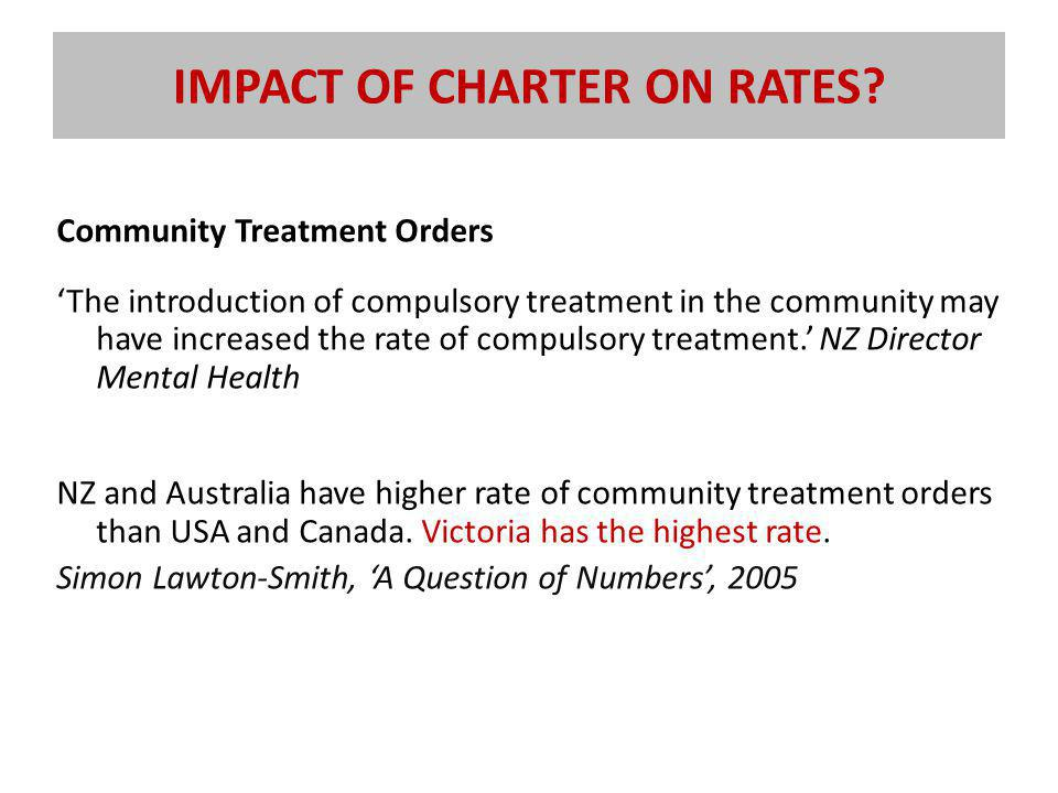 IMPACT OF CHARTER ON RATES.