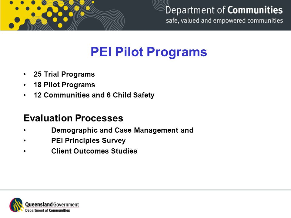 PEI Pilot Programs 25 Trial Programs 18 Pilot Programs 12 Communities and 6 Child Safety Evaluation Processes Demographic and Case Management and PEI Principles Survey Client Outcomes Studies