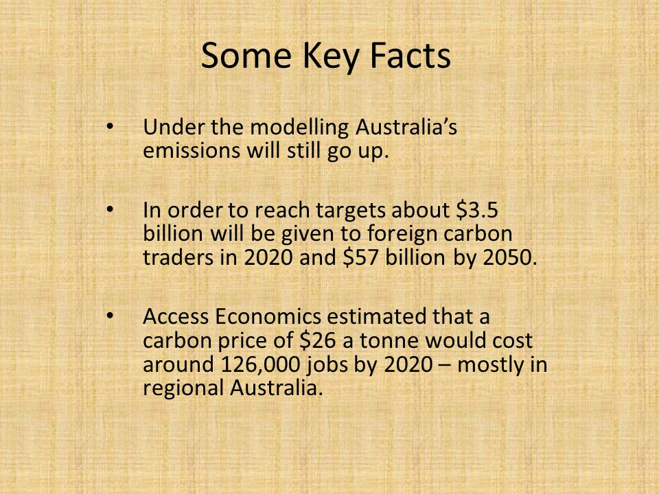 Some Key Facts Under the modelling Australia's emissions will still go up.