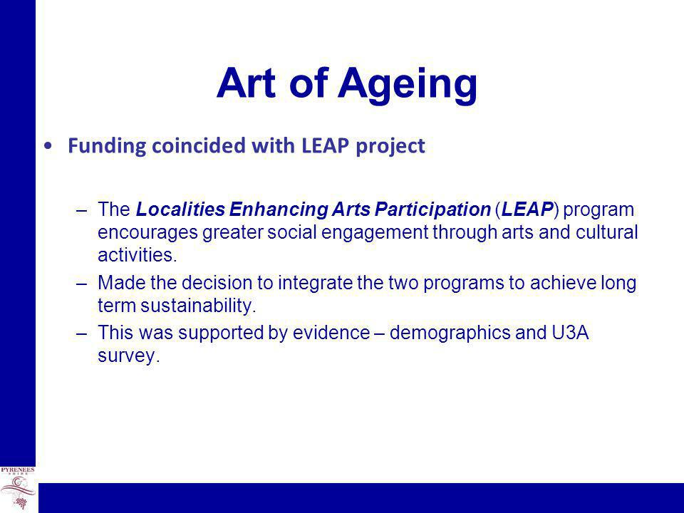 Art of Ageing Funding coincided with LEAP project –The Localities Enhancing Arts Participation (LEAP) program encourages greater social engagement through arts and cultural activities.