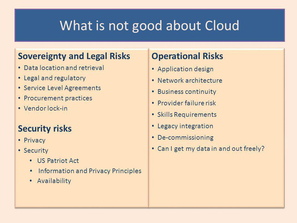 What is not good about Cloud Sovereignty and Legal Risks Data location and retrieval Legal and regulatory Service Level Agreements Procurement practices Vendor lock-in Security risks Privacy Security US Patriot Act Information and Privacy Principles Availability Sovereignty and Legal Risks Data location and retrieval Legal and regulatory Service Level Agreements Procurement practices Vendor lock-in Security risks Privacy Security US Patriot Act Information and Privacy Principles Availability Operational Risks Application design Network architecture Business continuity Provider failure risk Skills Requirements Legacy integration De-commissioning Can I get my data in and out freely.