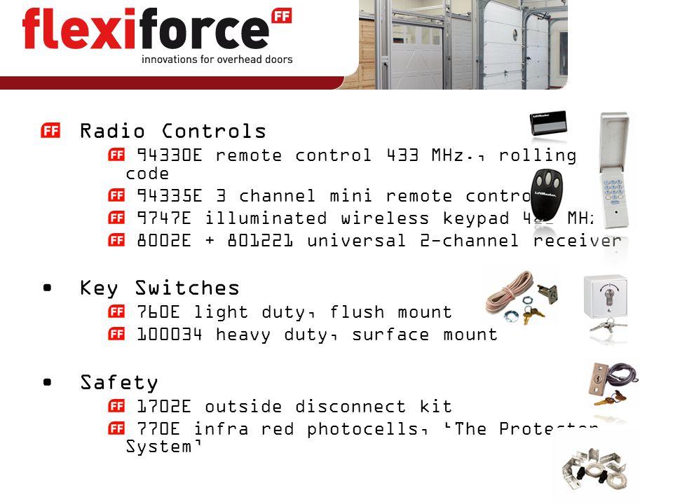 Radio Controls 94330E remote control 433 MHz., rolling code 94335E 3 channel mini remote control 9747E illuminated wireless keypad 433 MHz. 8002E + 80