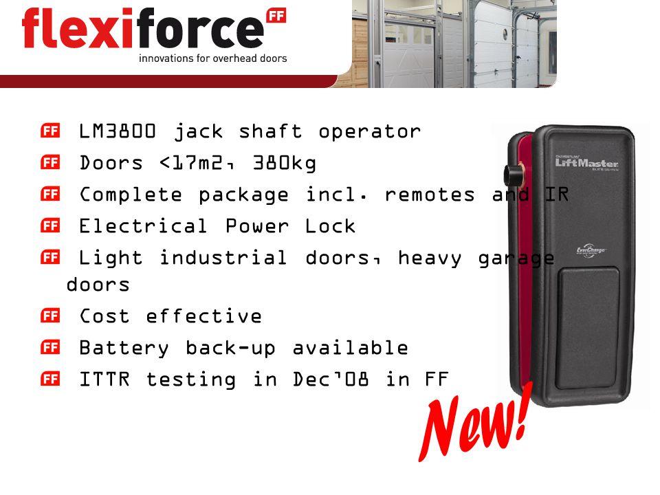 LM3800 jack shaft operator Doors <17m2, 380kg Complete package incl. remotes and IR Electrical Power Lock Light industrial doors, heavy garage doors C
