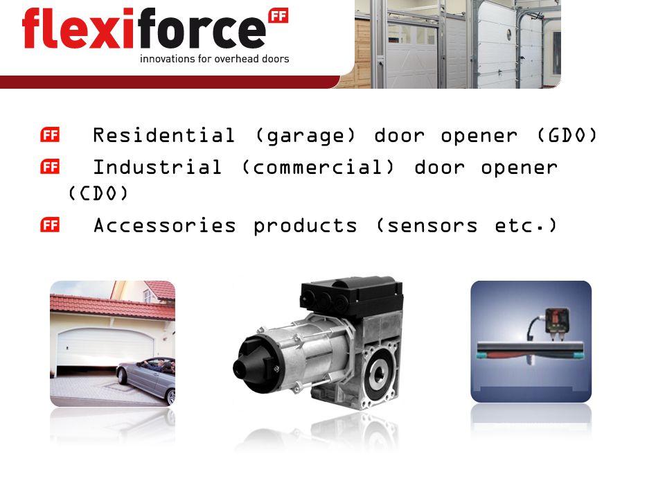 Residential (garage) door opener (GDO) Industrial (commercial) door opener (CDO) Accessories products (sensors etc.)