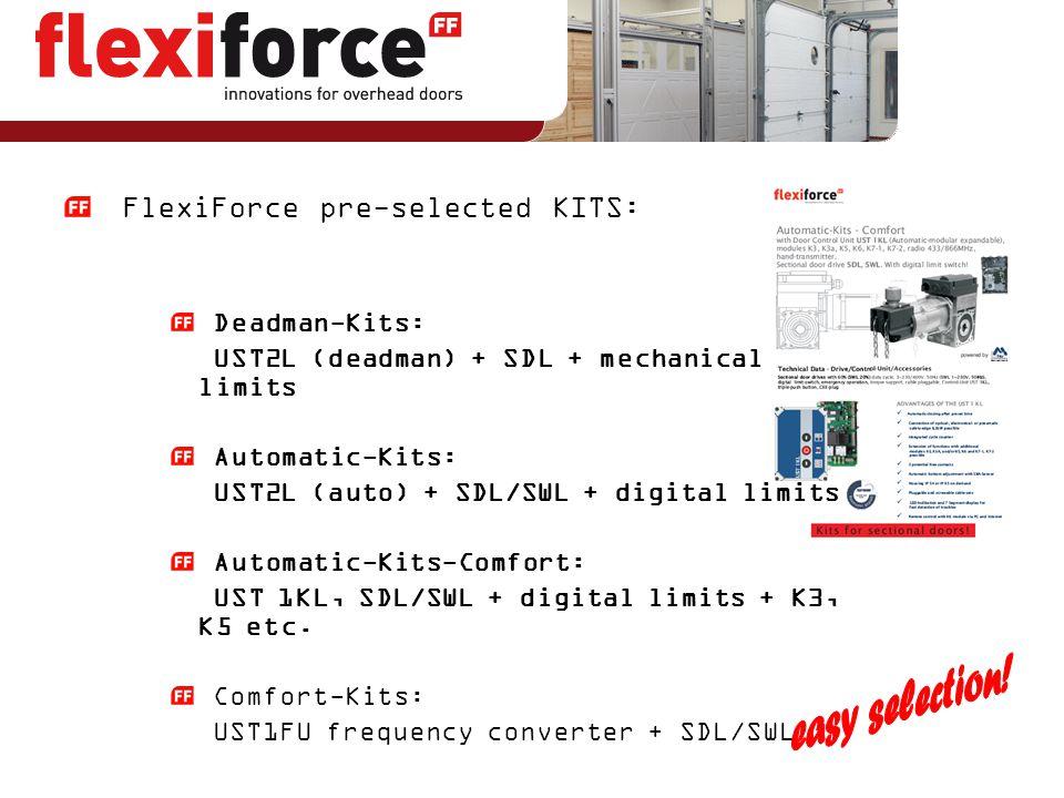 FlexiForce pre-selected KITS: Deadman-Kits: UST2L (deadman) + SDL + mechanical limits Automatic-Kits: UST2L (auto) + SDL/SWL + digital limits Automati