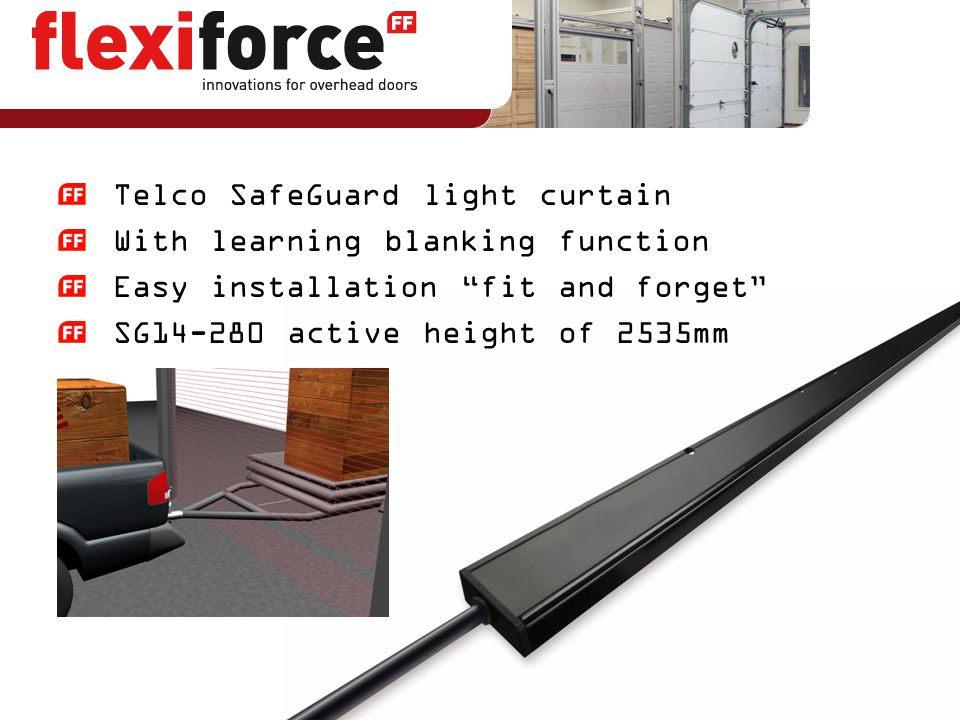 """Telco SafeGuard light curtain With learning blanking function Easy installation """"fit and forget"""" SG14-280 active height of 2535mm"""