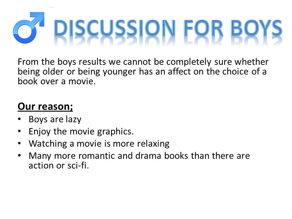 From the boys results we cannot be completely sure whether being older or being younger has an affect on the choice of a book over a movie.