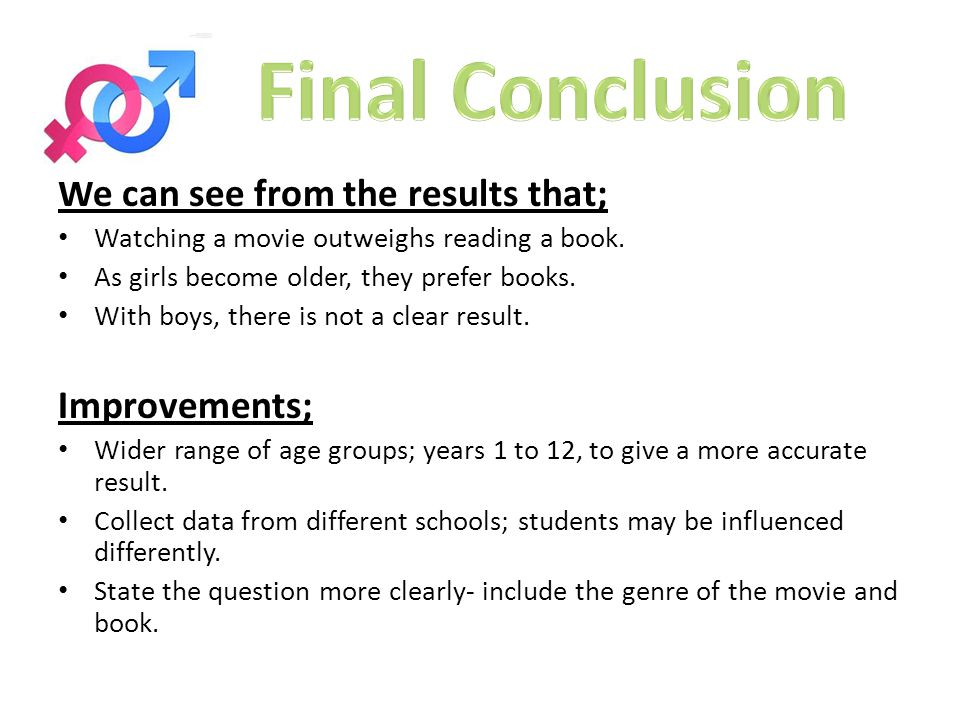 We can see from the results that; Watching a movie outweighs reading a book.