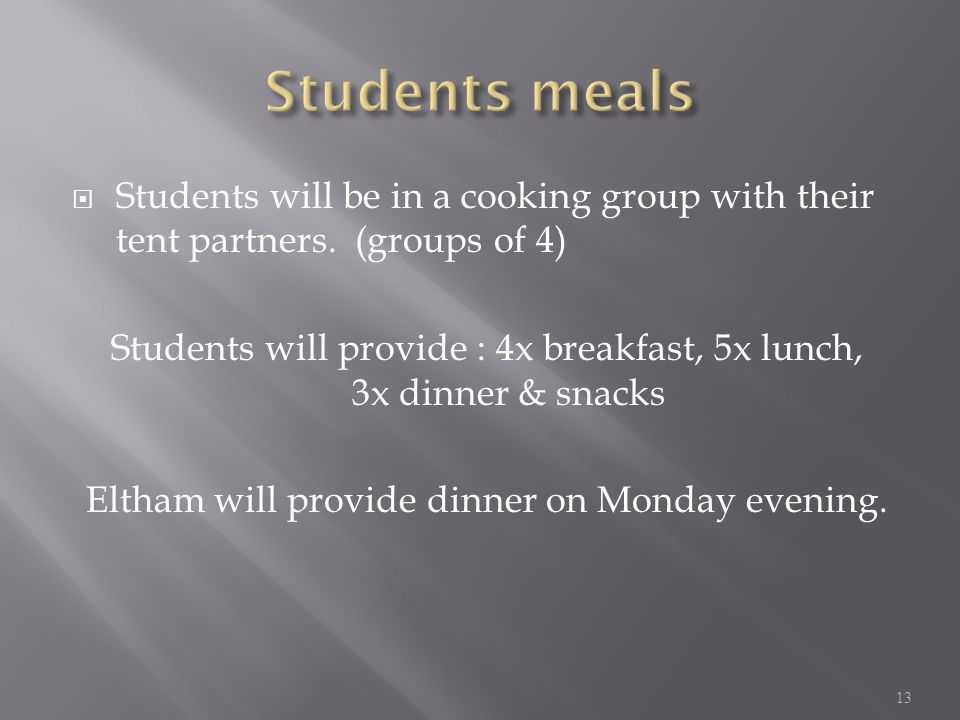  Students will be in a cooking group with their tent partners.