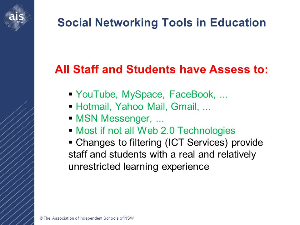 © The Association of Independent Schools of NSW Social Networking Tools in Education All Staff and Students have Assess to:  YouTube, MySpace, FaceBo