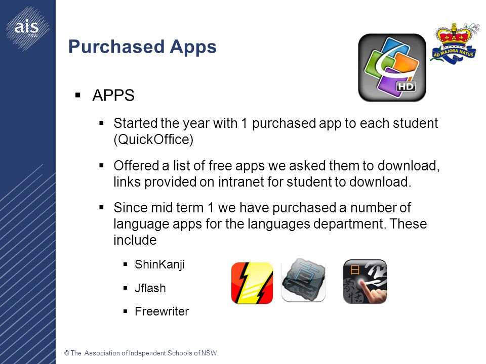 Purchased Apps  APPS  Started the year with 1 purchased app to each student (QuickOffice)  Offered a list of free apps we asked them to download, links provided on intranet for student to download.