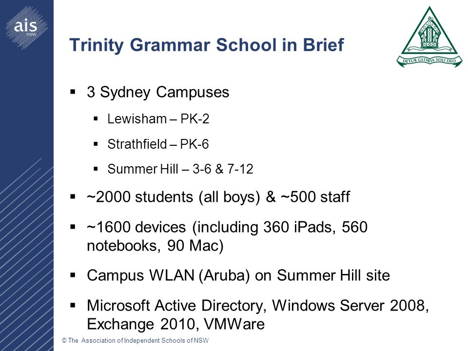 © The Association of Independent Schools of NSW Trinity Grammar School in Brief  3 Sydney Campuses  Lewisham – PK-2  Strathfield – PK-6  Summer Hill – 3-6 & 7-12  ~2000 students (all boys) & ~500 staff  ~1600 devices (including 360 iPads, 560 notebooks, 90 Mac)  Campus WLAN (Aruba) on Summer Hill site  Microsoft Active Directory, Windows Server 2008, Exchange 2010, VMWare