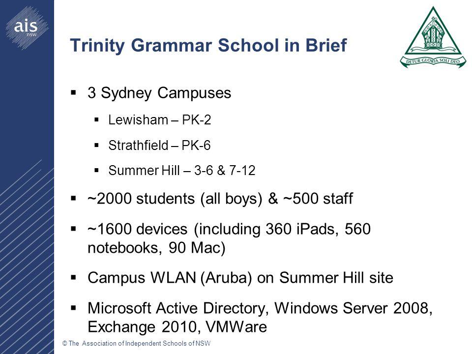 © The Association of Independent Schools of NSW Richard Jones, ICT Manager, Shore School rjones@shore.nsw.edu.au