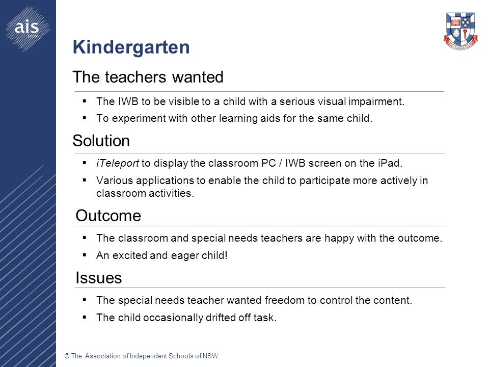 © The Association of Independent Schools of NSW Kindergarten The teachers wanted  The IWB to be visible to a child with a serious visual impairment.