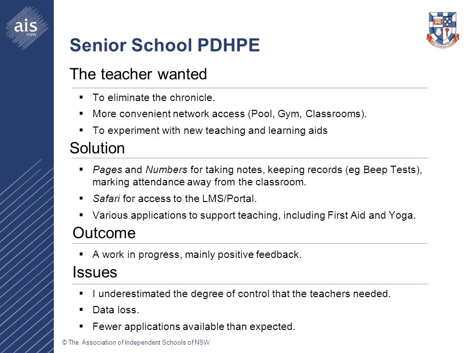 © The Association of Independent Schools of NSW Senior School PDHPE The teacher wanted  To eliminate the chronicle.