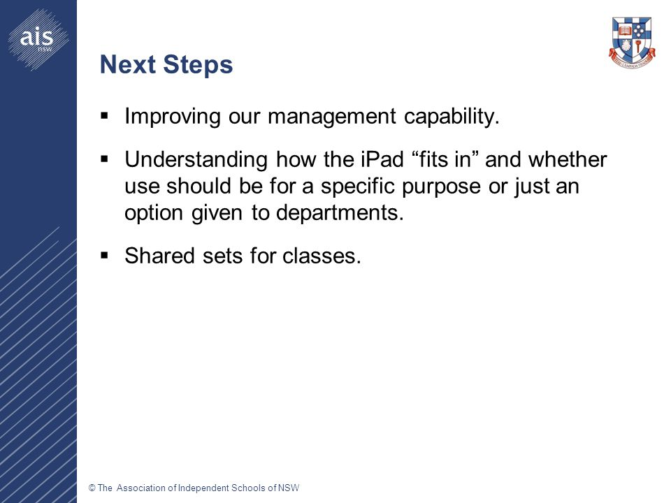 © The Association of Independent Schools of NSW Next Steps  Improving our management capability.