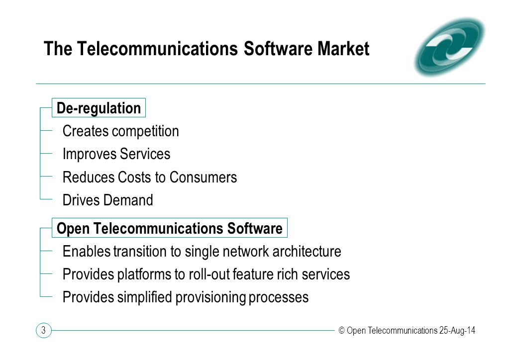 3 © Open Telecommunications 25-Aug-14 The Telecommunications Software Market De-regulation Creates competition Improves Services Reduces Costs to Cons