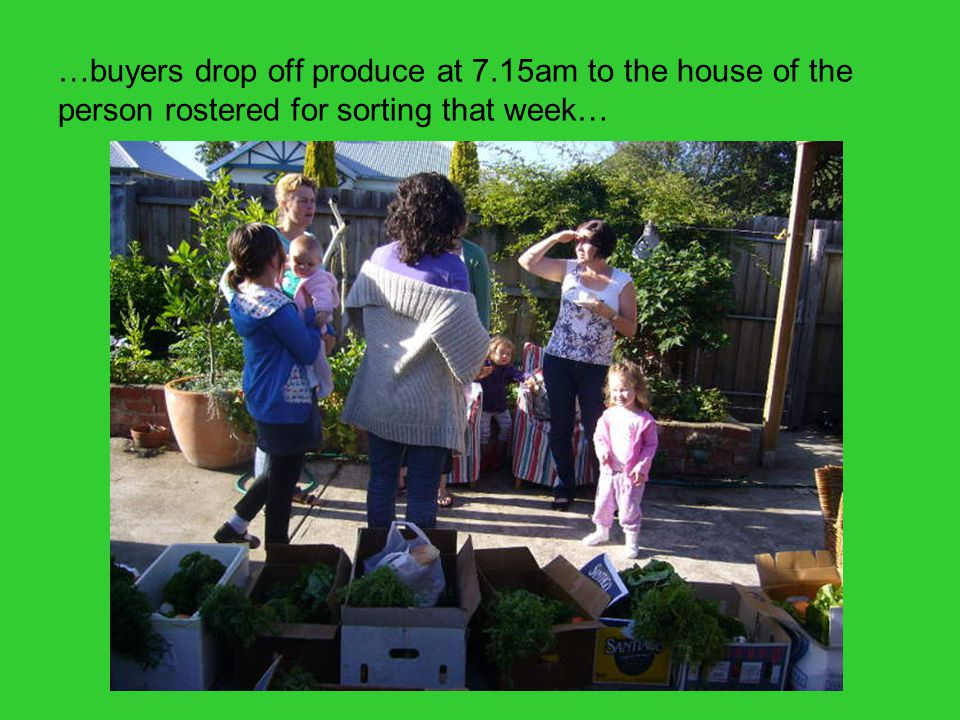 …buyers drop off produce at 7.15am to the house of the person rostered for sorting that week… (of boxes in back of car)( boxes in back of car)