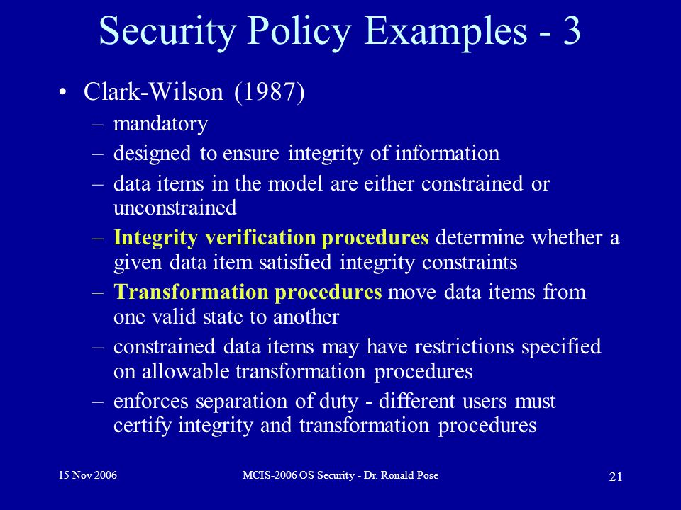 15 Nov 2006MCIS-2006 OS Security - Dr.
