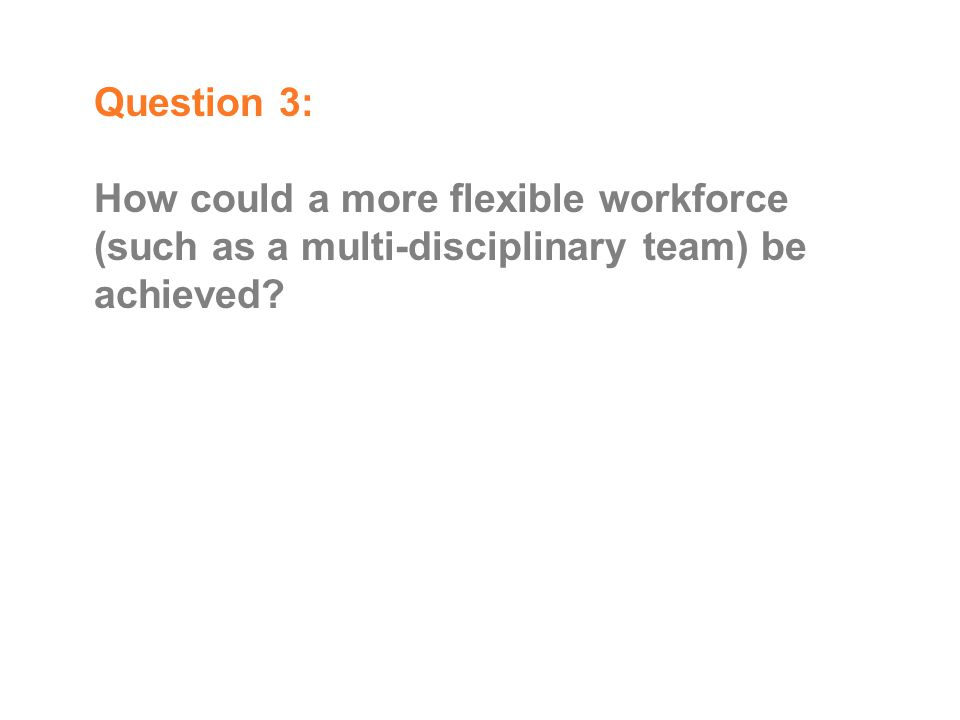 Question 3: How could a more flexible workforce (such as a multi-disciplinary team) be achieved?