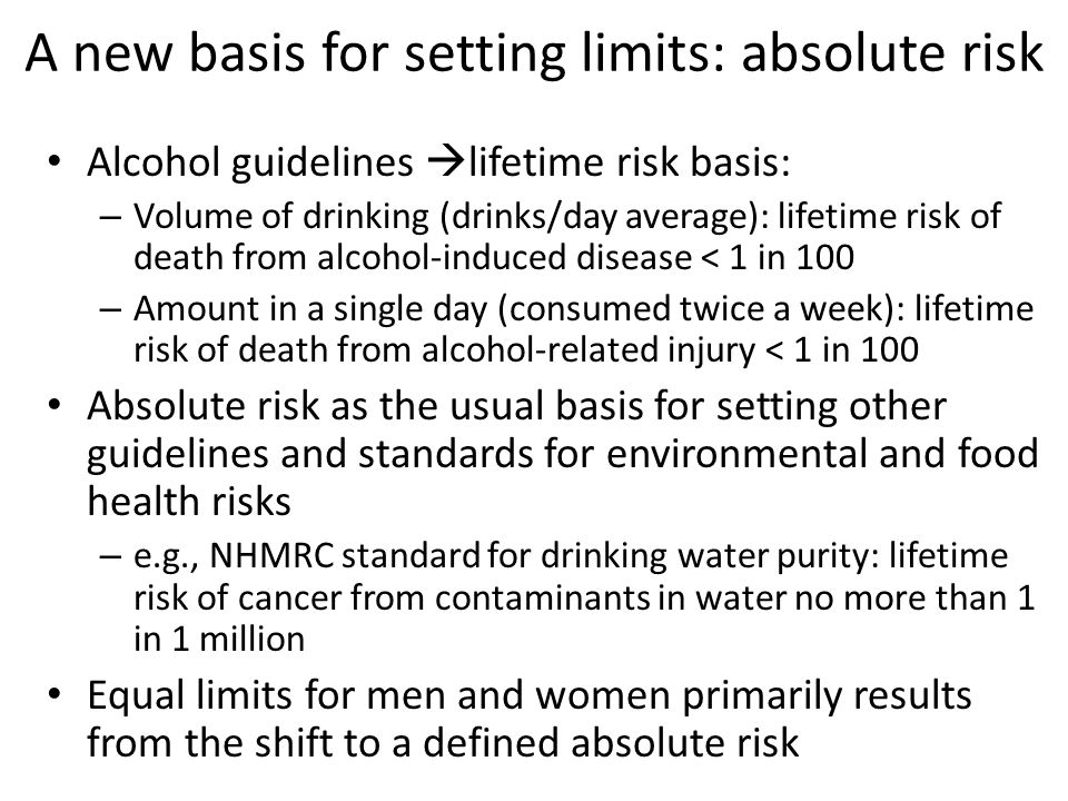 A new basis for setting limits: absolute risk Alcohol guidelines  lifetime risk basis: – Volume of drinking (drinks/day average): lifetime risk of death from alcohol-induced disease < 1 in 100 – Amount in a single day (consumed twice a week): lifetime risk of death from alcohol-related injury < 1 in 100 Absolute risk as the usual basis for setting other guidelines and standards for environmental and food health risks – e.g., NHMRC standard for drinking water purity: lifetime risk of cancer from contaminants in water no more than 1 in 1 million Equal limits for men and women primarily results from the shift to a defined absolute risk