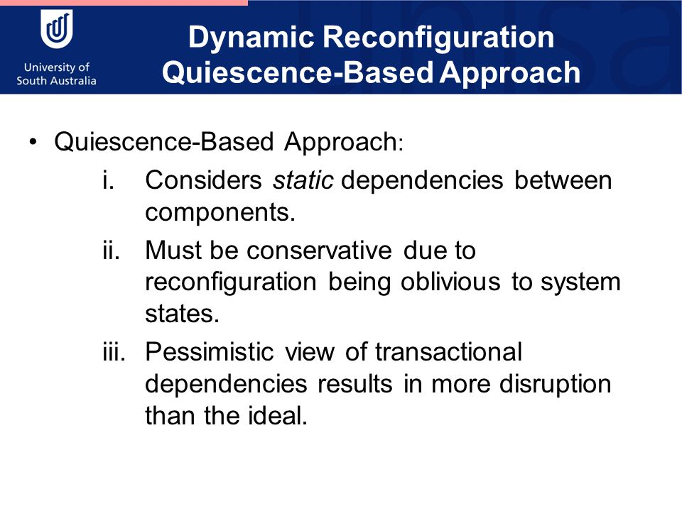 Dynamic Reconfiguration Quiescence-Based Approach Quiescence-Based Approach : i.Considers static dependencies between components.
