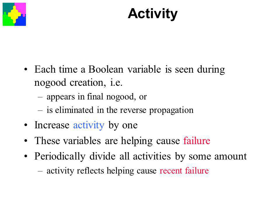 Activity Each time a Boolean variable is seen during nogood creation, i.e.